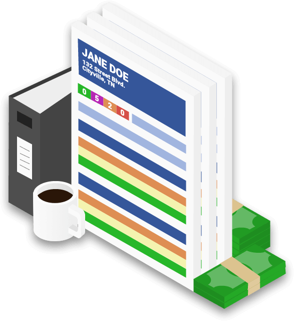 Business owner credit report surrounded by a cup of coffee, a binder, and two stacks of cash graphic