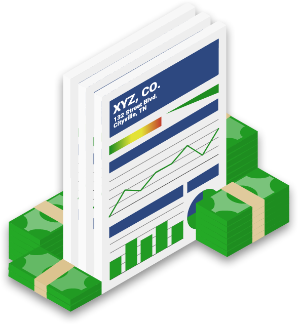 Comprehensive business credit report surrounded by large stacks of cash graphic