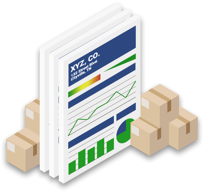 Supplier business credit report surrounded by boxes graphic