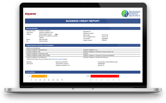 Equifax Canadian business credit report shown on a laptop screen graphic