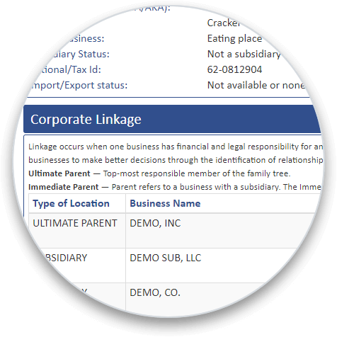 Corporate Linkage section on a business credit report