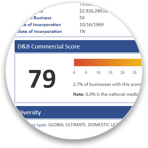 D&B Commercial Score addon section on a business credit report