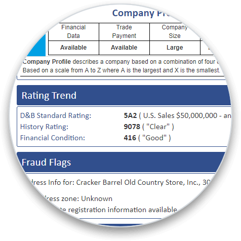 D&B Rating addon section on a business credit report