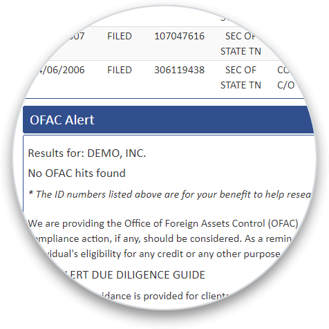 OFAC Alert section on a business credit report